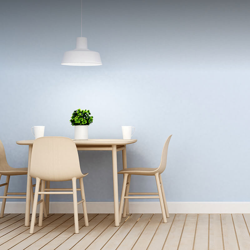 Rounded wooden table