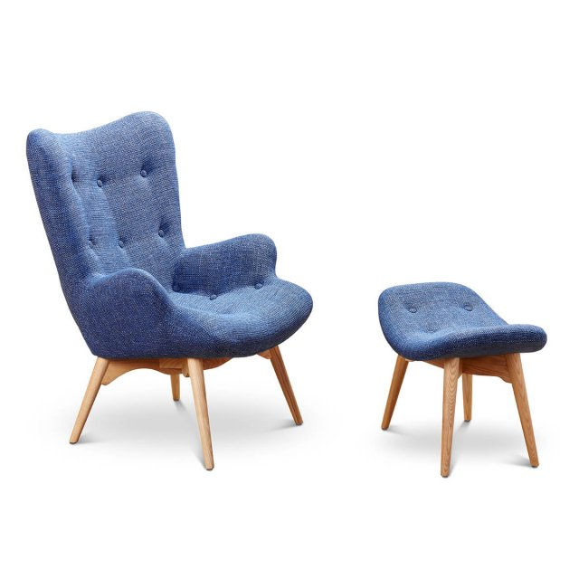 Armchair and footrest